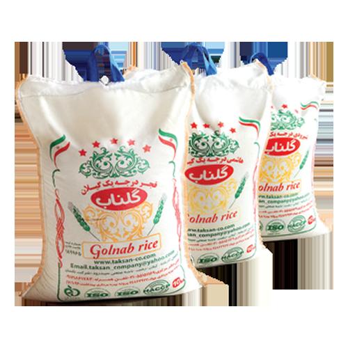انواع برنج مرغوب و خالص کیسه ای ده کیلویی گلناب،محصول گروه مواد غذایی تکسان